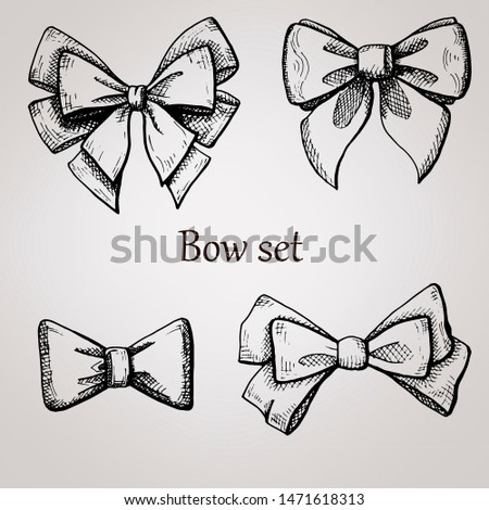 bow, graphics, black and white, sketch bow, bow set