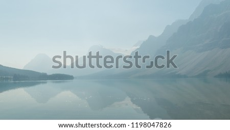 Bow lake in smoke, Banff national park, Alberta, Canada #1198047826