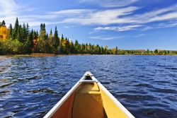 Bow of canoe on Lake of Two Rivers, Ontario, Canada