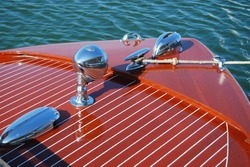 Bow of classic wooden boat