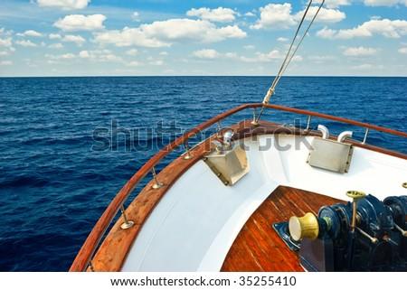 Bow of Pleasure boat sailing the Aegean sea