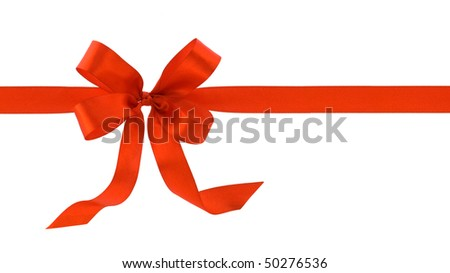 bow of red satin ribbon on white