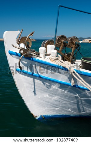 Bow of small fishing boat in a harbor