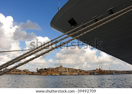 Bow of the cruise ship with Valletta in background