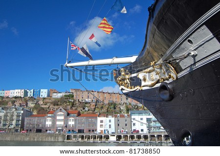 bow of the SS Great Britain in Bristol harbour, UK