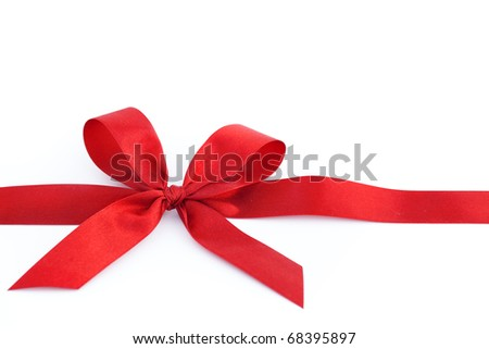 Bow on a red tape on white