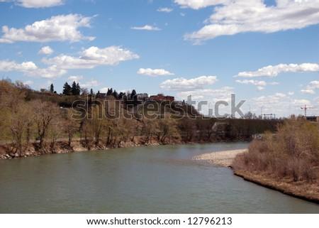 Bow River in Calgary, Alberta, spring