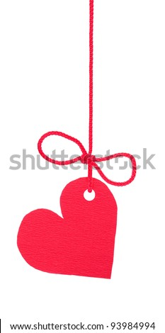 "Bow with red tag ""heart"""