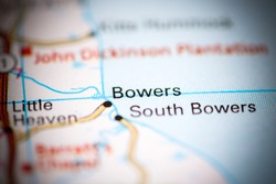 Bowers. Delaware. USA on a geography map