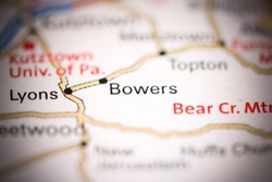 Bowers. Pennsylvania. USA on a geography map