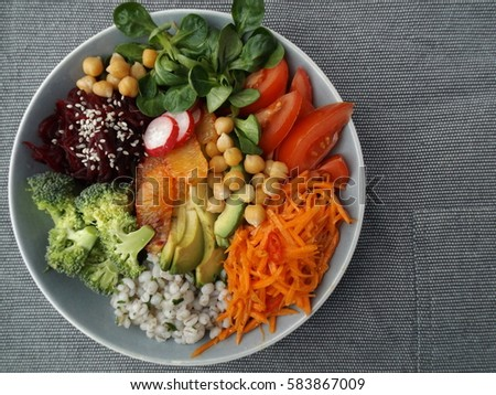 Bowl Buddha. The concept of a healthy vegetarian diet #583867009