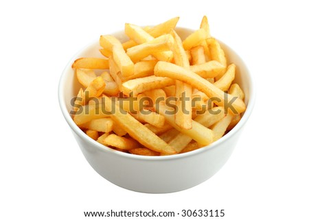 Bowl full of french fries isolated on white