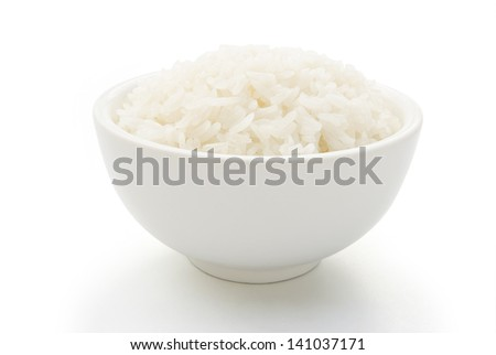 bowl full of rice on white with clipping path