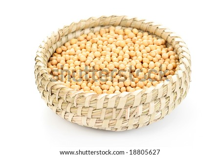 bowl full of soybeans isolated on white - stock photo