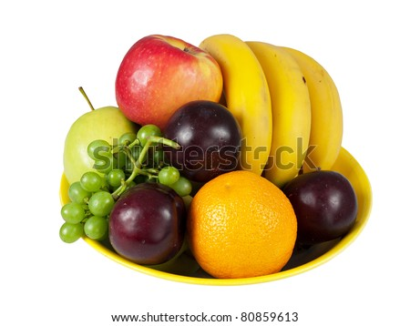 Bowl of assorted fresh fruit - to get your five portions per day, isolated on white