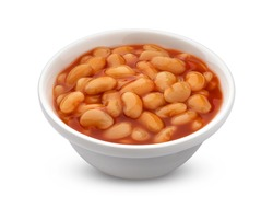 Bowl of baked beans in tomato sauce isolated on white background with clipping path