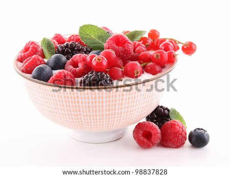 bowl of berries and yogurt
