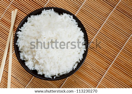 Bowl of boiled rice a popular accompaniment with oriental food