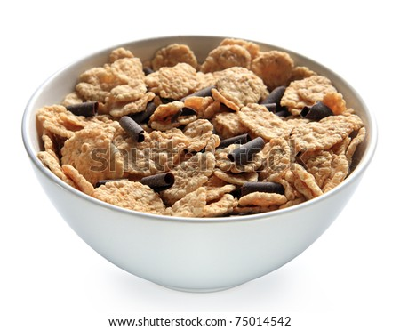Bowl of bran cereal with chocolate curls