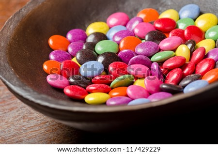 Bowl of candy coated chocolate.