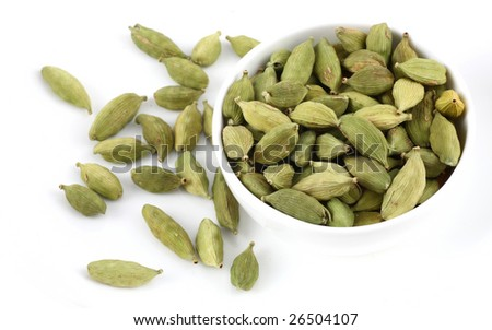 bowl of Cardamoms  on white background