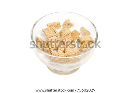 Bowl of Cereal with Milk Isolated on a White Background