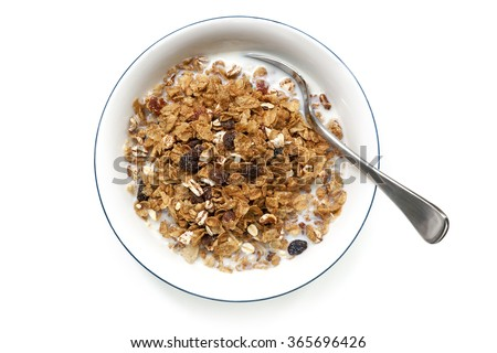 Shutterstock Bowl of cereal with spoon, isolated on white.  Overhead view.