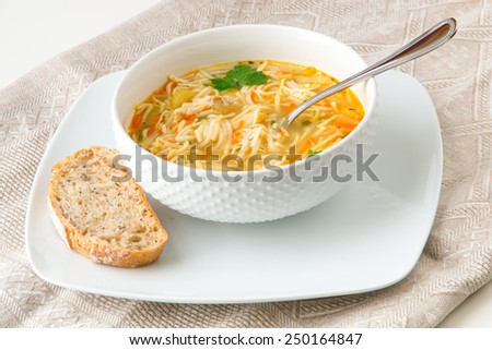 Shutterstock Bowl of chicken noodle soup