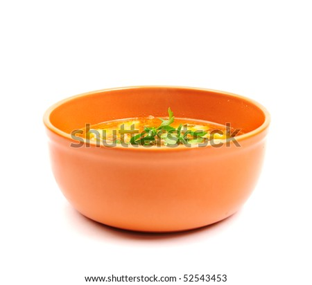 Bowl of Chicken Soup on white