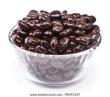 bowl of chocolate covered raisins, isolated on white