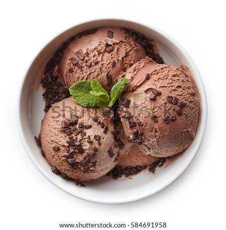 Bowl of chocolate ice cream isolated on white background. From top view