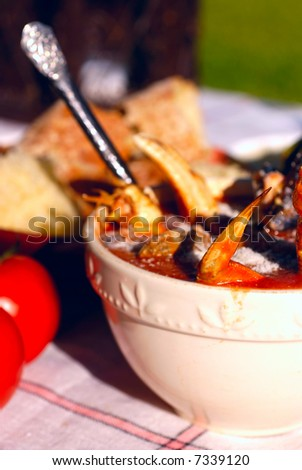 Bowl of cioppino, a seafood stew native to San Francisco