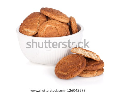 Bowl of cookies. Isolated on white background