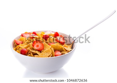 Bowl of Cornflakes and Strawberries #1046872636