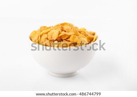 Bowl of  cornflakes for breakfast #486744799