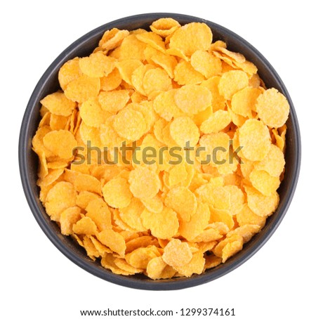 bowl of cornflakes top view #1299374161