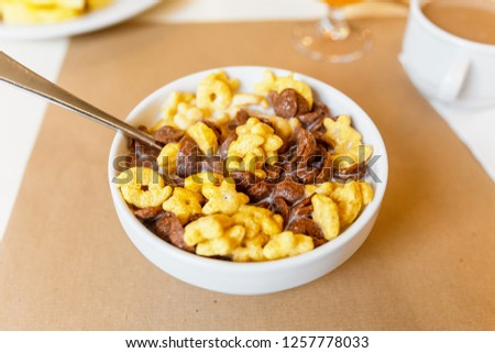 Bowl of cornflakes with milk #1257778033