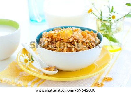 bowl of cornflakes with milk