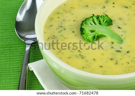 Bowl of cream of broccoli soup.