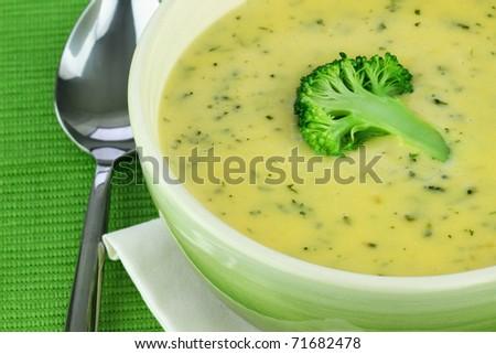 Bowl of cream of broccoli soup.