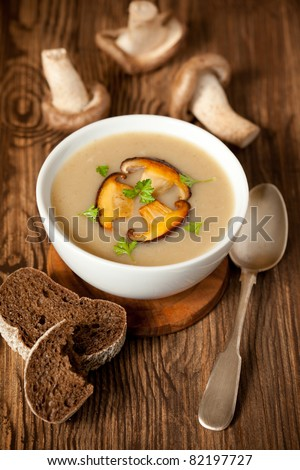 Bowl of cream of mushroom soup with fried mushrooms