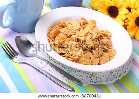 bowl of crunchy corn flakes for breakfast