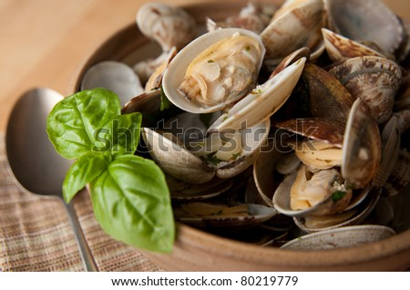 Bowl of Delicious Fresh Steamer Clams with Garlic and Basil