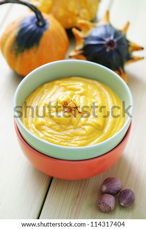 bowl of delicious pumpkin soup - food and drink