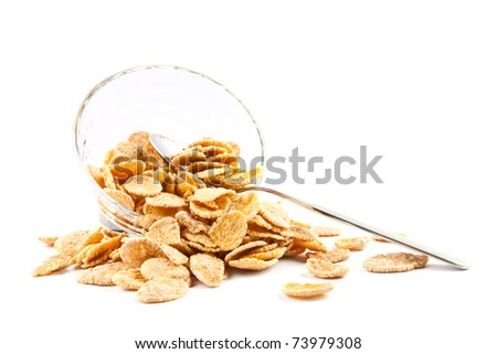 Bowl of dried cornflakes and spoon