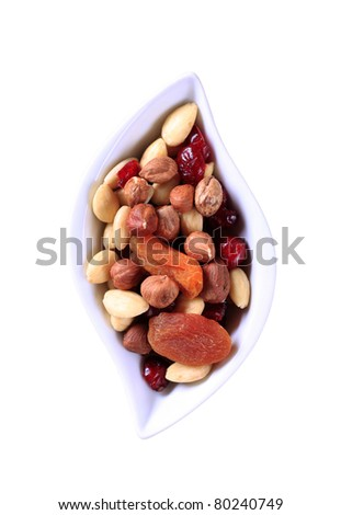 Bowl of dried fruit and nuts