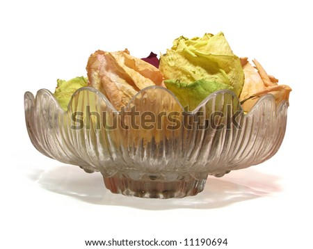 bowl of dry roses isolated on white background