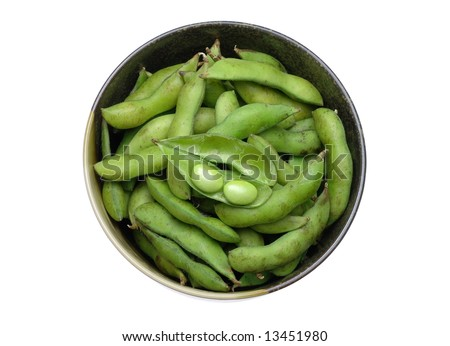 Bowl of edamame (green soybean) in isolated white background