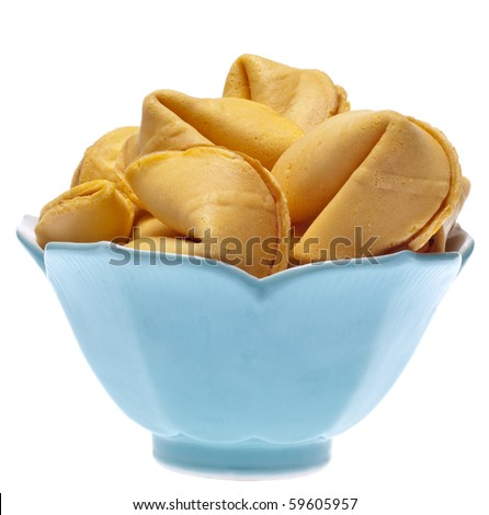 Bowl of Fortune Cookies Isolated on White with a Clipping Path.