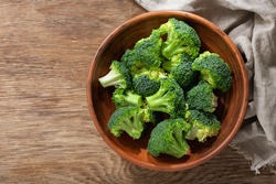 Bowl of fresh broccoli florets on wooden background, top view
